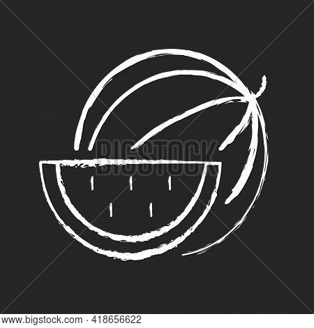 Watermelon Chalk White Icon On Black Background. Serving Fruit For Picnic. Low-calorie Treat. Body D