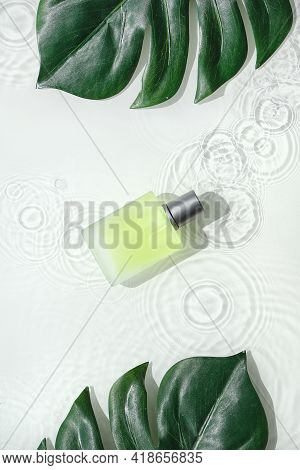 Cosmetic Skincare Background, Splashes Of Water. Transparent, Glass Vial With Green Yellow Liquid Pr