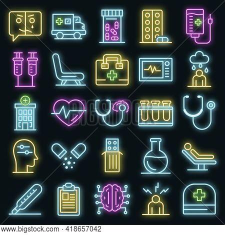 Mental Hospital Icons Set. Outline Set Of Mental Hospital Vector Icons Neon Color On Black