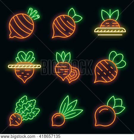 Beet Icons Set. Outline Set Of Beet Vector Icons Neon Color On Black