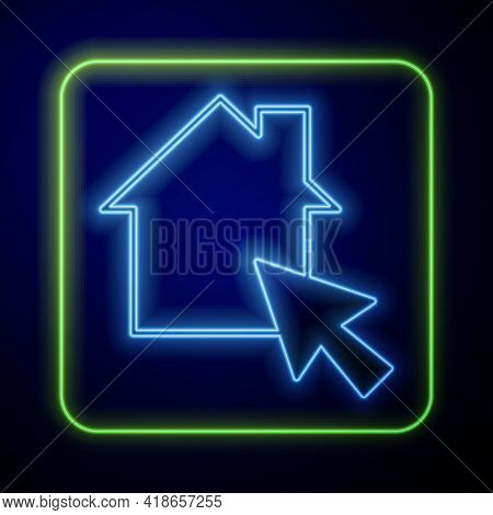 Glowing Neon Online Working Icon Isolated On Blue Background. Freelancer Man Working On Laptop At Hi