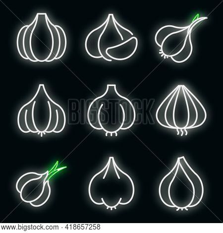 Garlic Icons Set. Outline Set Of Garlic Vector Icons Neon Color On Black