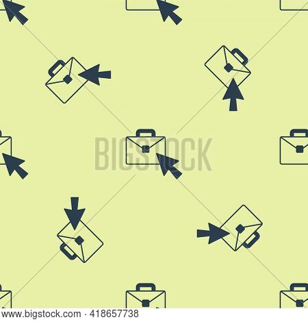 Blue Online Working Icon Isolated Seamless Pattern On Yellow Background. Freelancer Man Working On L