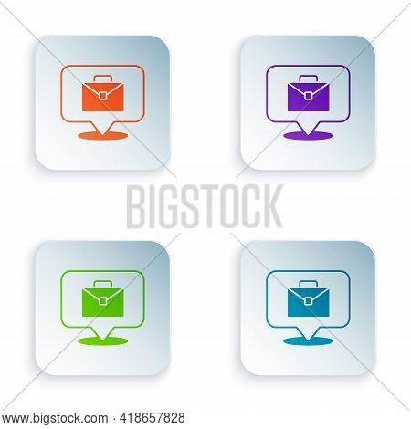 Color Online Working Icon Isolated On White Background. Freelancer Man Working On Laptop At His Hous