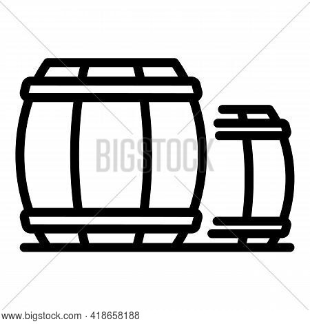 Ranch Wood Barrels Icon. Outline Ranch Wood Barrels Vector Icon For Web Design Isolated On White Bac