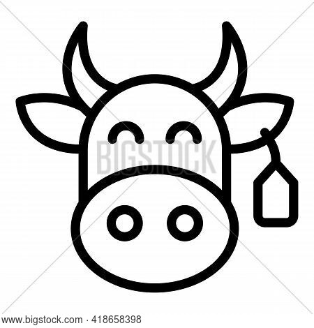 Ranch Cow Icon. Outline Ranch Cow Vector Icon For Web Design Isolated On White Background