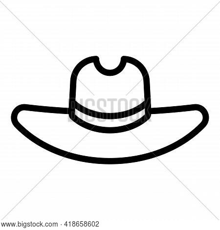 Ranch Cowboy Hat Icon. Outline Ranch Cowboy Hat Vector Icon For Web Design Isolated On White Backgro
