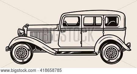 Retro Gangster Car Side View Template In Vintage Monochrome Style Isolated Vector Illustration