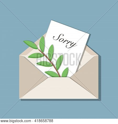 Beige Opened Envelope With Handwritten Message Sorry And Olive Branch As A Symbol Of Peace Inside. W