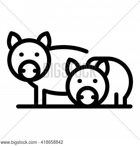 Ranch Pigs Icon. Outline Ranch Pigs Vector Icon For Web Design Isolated On White Background