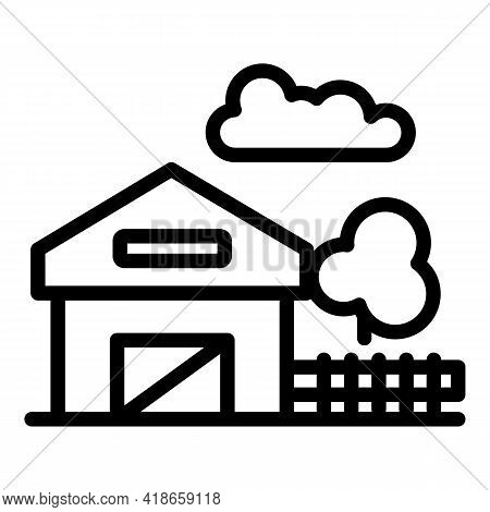Ranch House With Fence Icon. Outline Ranch House With Fence Vector Icon For Web Design Isolated On W