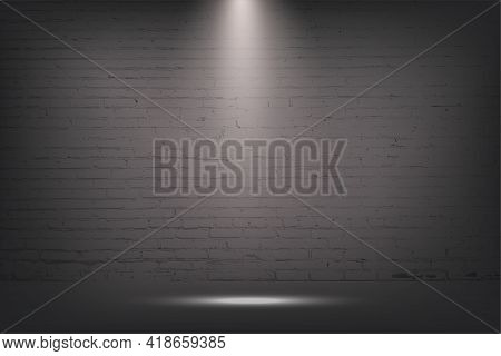 Grey Brick Wall With Spotlight, Stone Background. Light From Lamp On Concrete Texture Vector Illustr