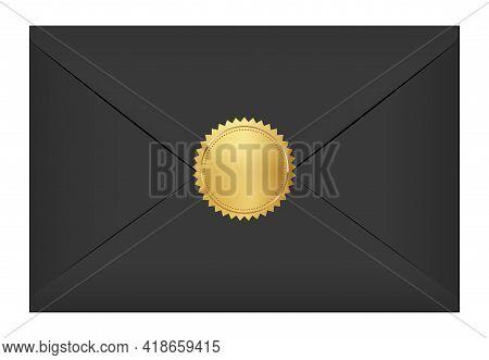 Black Elegant Envelope With Gold Stamp. Blank Mail Paper Card Mock Up Vector Illustration. Realistic
