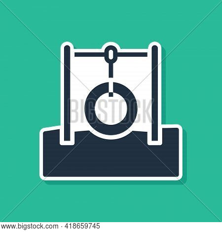 Blue Car Tire Hanging On Rope Icon Isolated On Green Background. Playground Equipment With Hanging R