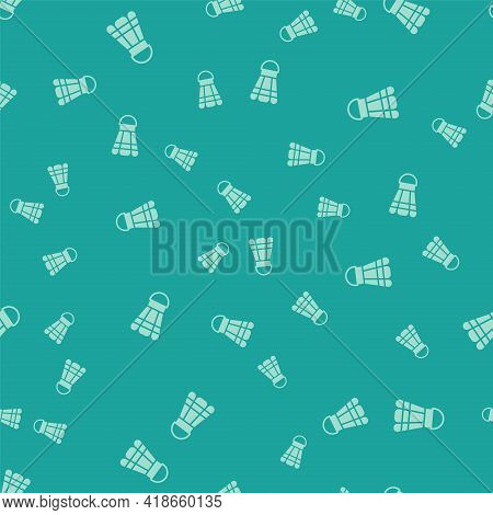 Green Badminton Shuttlecock Icon Isolated Seamless Pattern On Green Background. Sport Equipment. Vec
