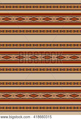 Ethnic Geometric Pattern . Seamless Pattern. Mexican Rug, Blanket. Woven Carpet Illustration. Southw