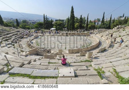 Athens, Greece-june 16, 2017: Tourists At Ancient Dionysus Theater Under The Ruins Of Acropolis, In