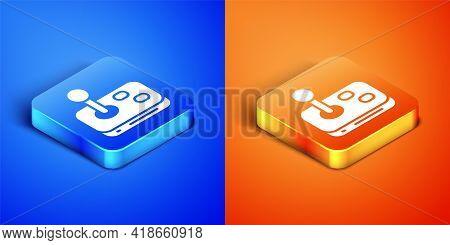Isometric Joystick For Arcade Machine Icon Isolated On Blue And Orange Background. Joystick Gamepad.