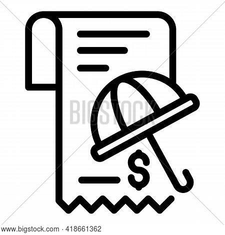 Umbrella Compensation Icon. Outline Umbrella Compensation Vector Icon For Web Design Isolated On Whi