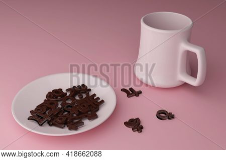 Breakfast Of A Modern Astrologer. 3d Rendering. Chocolate Cookies In The Form Of Astrological Signs