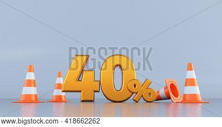 Forty Percent (40% ) Number With Traffic Cones . 3d Render