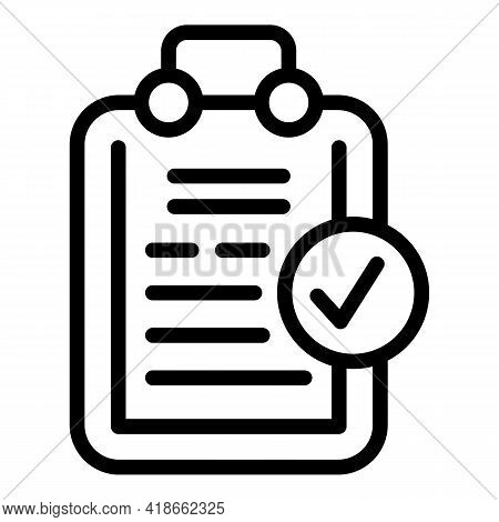 Liability Agreement Clipboard Icon. Outline Liability Agreement Clipboard Vector Icon For Web Design