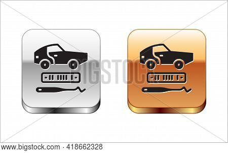 Black Car Theft Icon Isolated On White Background. Silver And Gold Square Buttons. Vector