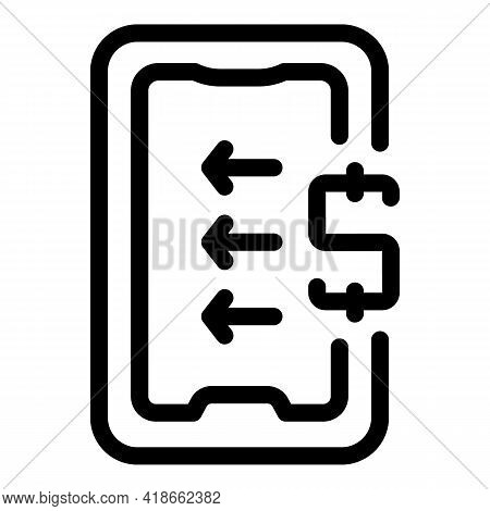 Phone Payment Cancellation Icon. Outline Phone Payment Cancellation Vector Icon For Web Design Isola