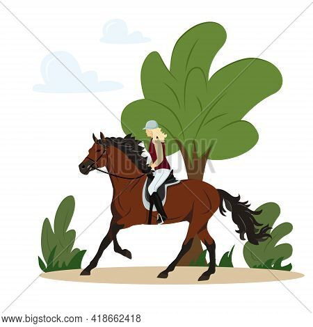 Girl Rides A Horse In The Park. Jockey On Horse. Horse Riding. Equestrian Sport. Isolated Vector Ill