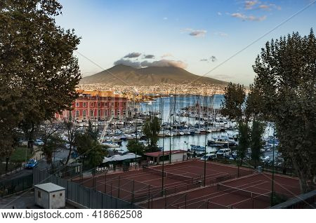 Vesuvio Volcano. View From Sea And From The City Of Naples, Italy