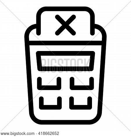 Terminal Payment Cancellation Icon. Outline Terminal Payment Cancellation Vector Icon For Web Design
