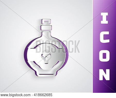 Paper Cut Poison In Bottle Icon Isolated On Grey Background. Bottle Of Poison Or Poisonous Chemical