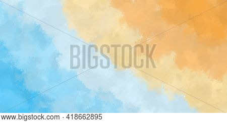 Abstract Watercolor Background With Streaks Of Watercolors In Blue And Yellow And Orange. Illustrati