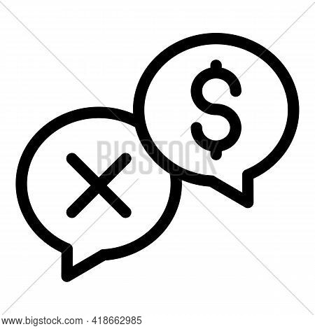 Chat Payment Rejection Icon. Outline Chat Payment Rejection Vector Icon For Web Design Isolated On W