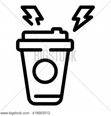 Rush Job Coffee Cup Icon. Outline Rush Job Coffee Cup Vector Icon For Web Design Isolated On White B