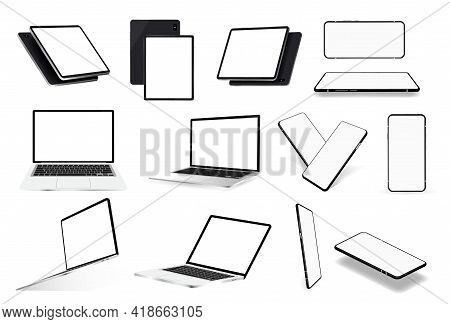 Various Gadgets Mockups. Laptop, Tablet And Mobile Phone. Realistic 3d Devices With Blank Screen In