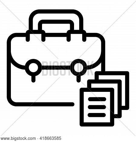 Rush Job Briefcase Icon. Outline Rush Job Briefcase Vector Icon For Web Design Isolated On White Bac