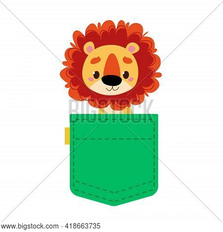 Cute Lion Cub In A Green Pocket Of Jeans Or Baby Clothes. The Animal Looks Out Of The Bag. Template