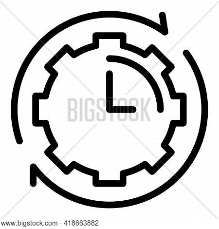 Rush Job Gear Time Icon. Outline Rush Job Gear Time Vector Icon For Web Design Isolated On White Bac