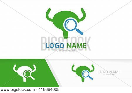 Vector Bladder And Loupe Logo Combination. Urinary Tract Logotype Design Template.