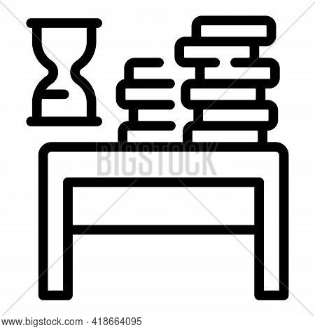 Book Stack Desktop Icon. Outline Book Stack Desktop Vector Icon For Web Design Isolated On White Bac