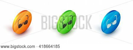 Isometric Glasses For The Blind And Visually Impaired Icon Isolated On White Background. Circle Butt