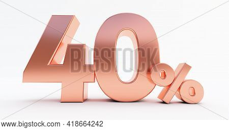 40 Percent On White Background. 3d Render Of A Bronze Forty Percent