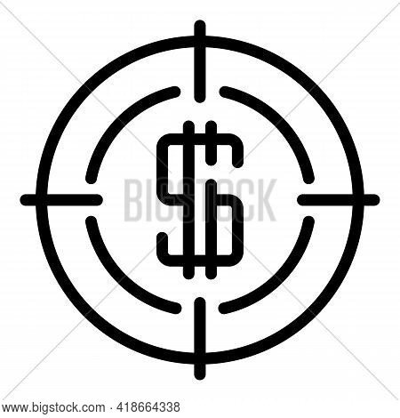Result Money Target Icon. Outline Result Money Target Vector Icon For Web Design Isolated On White B