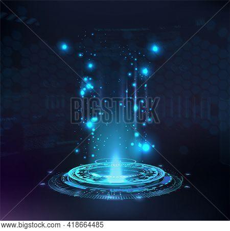 Magic Portal, Hologram, Circle Teleport Or Sci-fi Gadget. High-tech Projector In Hud Style. Futurist