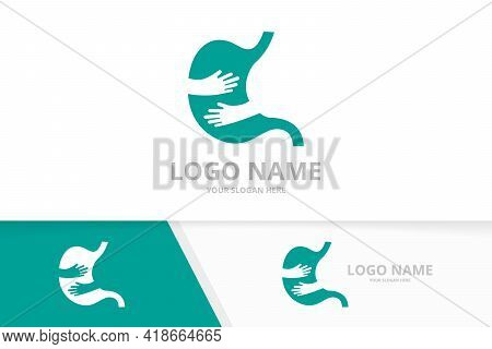 Vector Stomach And Hands Logo Combination. Unique Gastrointestinal Tract Logotype Design Template.