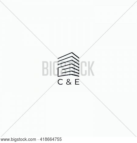 Abstract Building Letter C And E Logo