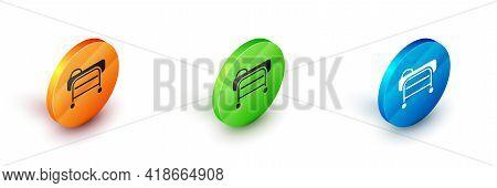 Isometric Stretcher Icon Isolated On White Background. Patient Hospital Medical Stretcher. Circle Bu