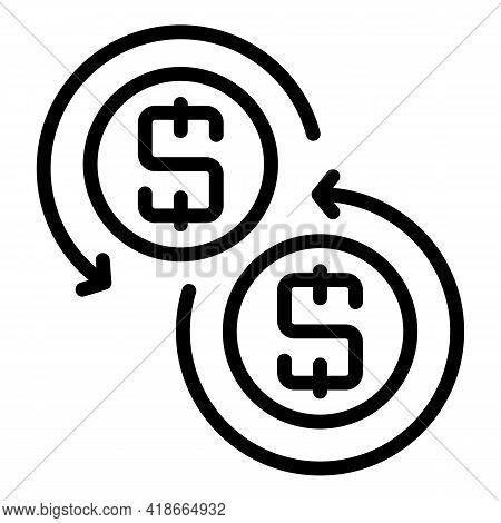 Result Money Convert Icon. Outline Result Money Convert Vector Icon For Web Design Isolated On White