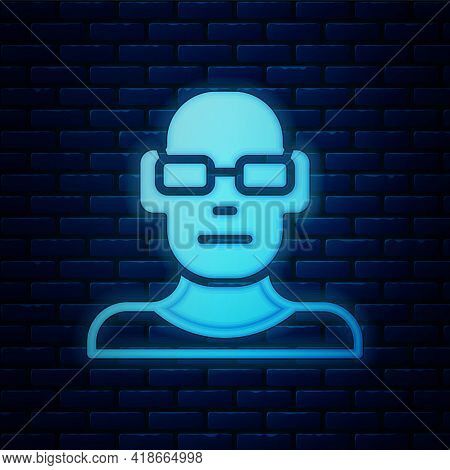 Glowing Neon Poor Eyesight And Corrected Vision With Optical Glasses Icon Isolated On Brick Wall Bac